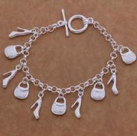 gümüş ayakkabı takılar toptan satış-925 ayar Gümüş Kaplama Charm Bilezik çanta ayakkabı kadın bayanlar Charms Bileklik Vintage Zincir Bilezik Takı Noel Hediyesi