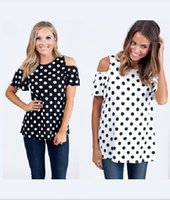Wholesale Design Clothes For Women - 2016 Summer Blouses For Women Design Off Shoulder Tops Tee Short-Sleeved Dot Printed Ladies Chiffon Shirt Women's Clothing