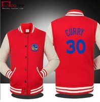 Wholesale Gray Baseball Uniforms - FREE SHIPPING WHOLESALE BASKETBALL GOLDEN STATE CURRY WARRIOR SPRING FALL WINTER Jacket lover`s Sweatshirt baseball uniform for MAN 5 COLORS