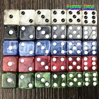 Wholesale Gambling Sets - 10pc set 12MM High Quality Marble Dice d6 with golden dots dice Game Accessories Gambling Dice