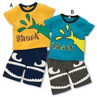 Wholesale Tooth Suit - 2 Color Boy shark tooth pattern stripe suit DHL summer marine style children cartoon Short sleeve T-shirt +shorts 2 pcs Suit B001