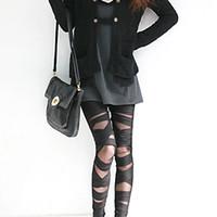 cortar leggings negros al por mayor-Legging de las mujeres de la manera rasgada cut-out vendaje pantalones verano agujeros polainas negro al por menor / venta al por mayor 59GH