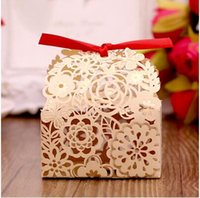 Wholesale Wholesale Party Favors Bags - 2016 New Style Hollow Flowers Wedding Decorations Party Candy box DIY chocolate Wdding Favors Boxes Gift Paper Candy Bags THZ209