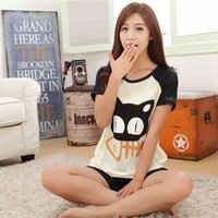 Wholesale pajamas cat print - Wholesale- Women's Casual Short sleeved shorts Pajamas Sets Cat and fish bones printing Round Neck home clothes Breathable sleepwear Suit
