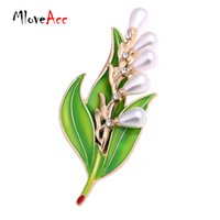 Wholesale Bridal Wedding Clothes - MloveAcc Fashion Imitation Pearl Crystal Vintage Bridal Enamel Flower Leaf Brooches Pin for Scarf Buckle Clothes Accessories