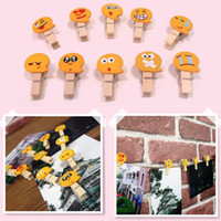 Wholesale Mini Postcards - Hot Multi Function Clothespin Yellow Emoji Cartoon Clip Room Decoration Mini Craft Wooden Clips Postcard Photo Clip IB422