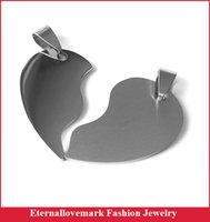 Wholesale Necklace Two One - Latest design two in one heart pendant fashion stainless steel lovers jewelry (Does not include the chain)