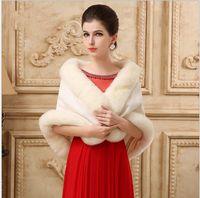 robe de mariée manteau rouge achat en gros de-New hiver robe de mariée châle, robe de mariée, manteau de fourrure, robe de demoiselle d'honneur, châle épaississement rouge blanc largeur 40cm