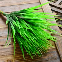 Wholesale Rustic Artificial Flowers - Hot Selling 7-fork Green Grass Artificial Plants For Plastic Flowers Household Store Dest Rustic Decoration Clover Plant