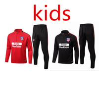 Wholesale Child Sweaters - Atletico Madrid Koke Griezmann kids Kit 17-18 Boy soccer Jersey chandal football tracksuit Child jacket training suit pants sweater