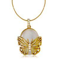 nj gold оптовых-Бренд Cason новый 18k позолоченный Золотая Бабочка имитация опал золото Penadnt Ожерелье для женщин золотой цвет груза падения NJ-0021