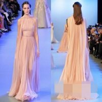 Wholesale Black Triangle Shawl - Elie Saab Dresses 2017 Red Carpet Dresses with Shawl Ruffled Chiffon Vintage Long Evening Gowns Formal Dresses