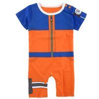 pamuk tek parça elbiseler toptan satış-Erkek bebek Naruto Komik Kostüm Yürüyor Karikatür Cosplay Tulum Yaz Kısa Kollu Pamuklu Tulum Tek Parça Toddler Cadılar Bayramı Cos Soyunma
