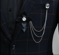 Wholesale Christmas Pins For Cheap - Price Cheap Luxury Crystal Brooch lapel Pins Handmade for Gentlmen Suit Wear The chain tassel brooches Christmas Gift
