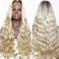 Wholesale Lace Front Wigs Color 613 - Ombre 1B 613 Loose Wave Full Lace Wig Pre-plucked Wig 100% Brazilian Virgin Human Hair Wig with Black Roots Free Shipping