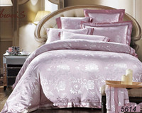 Wholesale Dark Purple Bedding - Miss flower silk bedding set 4pcs 6pcs tencel bed set tribute silk bed cover king size queen size satin linens 5614