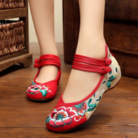 Wholesale Big Jane - Big Size 35-40 Woman Flat Shoes Flower Embroidery Shoes Women Chinese Old Peking Casual Cloth Mary Jane Dancing Shoes