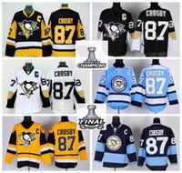 crosby jersey de invierno al por mayor-Nuevo 87 Sidney Crosby Jersey 2016 Campeones Pittsburgh Penguins Camisetas de hockey sobre hielo Parche final Invierno Clásico Negro Amarillo Blanco