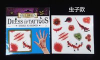 Wholesale Sticker Big Kids - Halloween Horror simulation trace fake tattoo stickers tear wound scar mischief waterproof disposable tattoo stickers