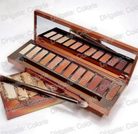 Wholesale eyeshadow palette mirror - 1Pcs Heat Palette 12 Colors Eyeshadow Makeup Eyeshadow with Glass mirror and brush