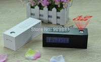 Wholesale Laser Alarm Clock Projector - Laser LED Projection Alarm Clock Display Time Date Temperature Projector Digital Desk Calendar With FM Radio Function