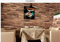 Wholesale Hot D Luxury Wood Blocks Effect Brown Stone Brick M Vinyl Wallpaper Roll Living Room Background Wall Decor Art Wall Paper