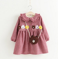 Wholesale Duck Dress Baby Girl - Christmas Baby girls red stripe dress kids cute rabbit bear duck applique princess dress child falbala doll collar thicken party dress R0042