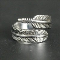 Wholesale Popular Feather Jewelry - Popular Ring 316L Stainless Steel Jewelry Ring Cool Women Mens Biker Feather Ring