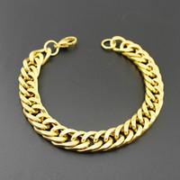 Wholesale 22 Gun Silver - 22*1cm Fashion Chunky Bracelet Mens Womens 18K Gold Gun Rhodium Double colorsFilled Curb Chain Link Bracelet Bangles
