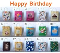 Wholesale Gift Wrapping Paper Cartoon - 27x21x11cm Paper Gift Bag With Handle Brithday Party Favor Gift Wrap Cartoon Brown paper bags Birthday Gift Packaging 30pcs lot