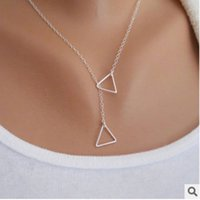 Wholesale Geometric Choker Necklace - New gold silver plated Wholesale chokers Women All-match Brief Personality Geometric Hollow Out Triangles Alloy Clavicle Chain Necklace
