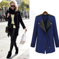 Wholesale Olrain Autumn Women Fashion Long Sleeve PU Leather Patchwork Long Trench Coat