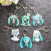 Wholesale Mini Vocaloid Figures - Japanese Hatsune Miku Onion 6PCS Anime 4CM Vocaloid Crystal Clear Doubleside Cosplay Kagamine Rin Kaito Mini Keychains Keyring