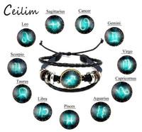 pulseira de couro para homens venda por atacado-Nova moda design de Jóias Doze Constelações Pulseiras De Couro retro mão-tecido contas DIY zodíaco pulseira para mulheres homens presentes