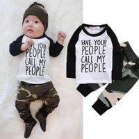 Wholesale Next Kids Clothes Girls - Newborn Baby Cloths Boys Boutique Clothing Set Toddler Tracksuit Next Kids Children Suit Infant Outfit Shirt Tops+Camouflage Pants Playsuit