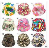 Wholesale Wholesale Visor Beanies - 2016 Baby Floral Printed Flower Hat Girls Cap Infant Sun Hat Colorful Baby Bucket Hats Canvas Children Beanie Sunbonnet Outdoor Hat Cap 2-5Y