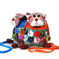 Wholesale Drawstring Coin Purse - National Wind Cartoon Cloth Bag Coin Purse Handmade Flowers Yunnan Characteristics Casual Drawstring Crossbody Bags for Girls Women