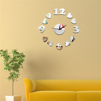 Wholesale Coffee Cup Wall Clocks - 3D mirror wall stickers Coffee cups number wall clock Creative Home Decor DIY Removable Decoration Stickers 2017 wholesale Free delivery
