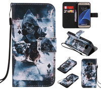 Wholesale Galaxy S4 Elephant Case - Skull Cartoon Flower Wallet Leather Case For Samsung Galaxy S6 S7 Edge S3 S4 S5 Grand Prime Core G530 Castle Elephant Pouch Stand Cover 8pcs