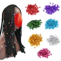 Wholesale Diy Hair Accessories Beads - Hair Accessories DIY Styling 100pcs 8mm Hair Braid Tube Adjustable Beads Hair Braid Cuff Tube Clips