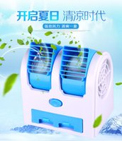 Wholesale First Gear 25 - usb battery dual refrigeration mini small fan dormitory office air conditioning fan bladeless turbine desktop