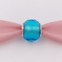 höllenarmband großhandel-Authentische 925 Silber Perlen Geometrische Facetten Sky Blue Slide Bead Charm Passt Europäischen Pandora Style Schmuck Armbänder Murano 791722NBS