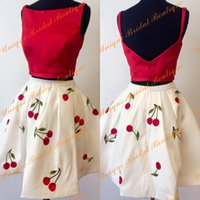 Wholesale Pretty Sweet - 2016 Pretty Homecoming Dresses with Straps and Open Back Real Pictures Print Cherry Red Top Two Pieces Sweet 16 Gowns & Girls Party Dress