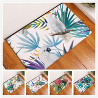 Wholesale White Floral Rug - Parrot Flamingos Peacock Flower Painting Bedroom Entrance Carpet Doormat Rug Non-slip Bathroom Livingroom Kitchen Floor Mats 40x60 50x80cm