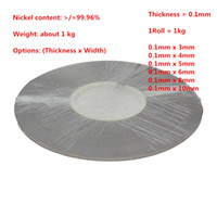 Wholesale Nickel Plates For Battery - Thickness 0.1mm Weight 1kg roll Pure Nickel Plate Strap Strip Sheets 99.96% for 18650 Battery Spot Welding