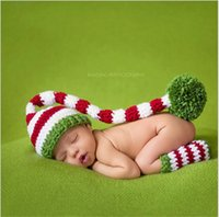 Wholesale Long Tail Elf Hat - Baby Christmas Hat Green Red Crochet Baby Boy Girl Elf Long Tail Pom-Pom Hat Party Costum Newborn Caps Props Crochet Hats Kids Winter Hat