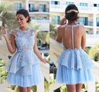 Light Sky Blue Mini Короткие коктейльные платья Cap Sleeve Lace Appliqued Illusion Bodices Tulle Short Homecoming Prom Dresses XXQ