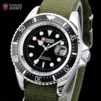 Wholesale Shark Military Sports Watch - car SHARK ARMY Date Silver Stainless Case Army Green Nylon Strap Band Men's Sport Quartz Wristwatch Military Watch   SAW014