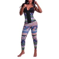 Wholesale Latex Female Suit - Female Body Shapewear Suits Geometric Print Latex Corset Tops with Control Panties Steampunk Suits Gothic Waist Trainer