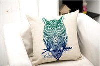 Wholesale Cotton Filling Pillow - Hand-painted Animal Cushion Lion Wolf Bear Owl Cushion Decorative Pillow cushions without filling